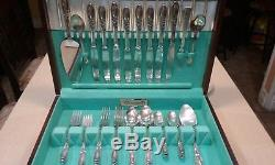 Oneida WHITE ORCHID 1953 Silverplate Flatware Set Service for 8 plus With Case