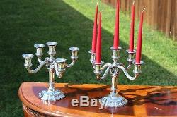 Prodigious Christofle Sterling Silver 5-Lights Candelabras Set of TWO