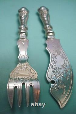 RARE Complete WMF German Art Nouveau Jugendstil Silver Pl Fish knife box set I/O