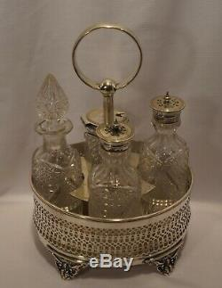 REDUCED Jenkins & Timm Silverplate Crystal Castor Cruet Set 4 Bottles England