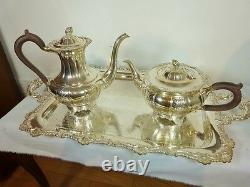 RIDEAU PLATE BY BIRKS 5 PC. GADROON & SHELL TEA & COFFEE SET with 25 1/2 TRAY