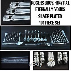 ROGERS BROS 101 Pc SILVERPLATE FLATWEAR 1847 ETERNALLY YOURS SET FOR 12 +SERVING