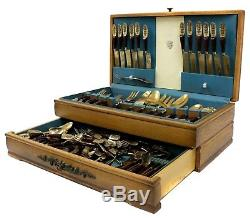 Reed & Barton Antique Siam Bronze Wooden Silverware Set 128 Pieces in Wood Box