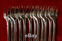 SET OF 12 FRENCH CHRISTOFLE OYSTER FORKS CLUNY SILVER PLATE FRANCE NEW