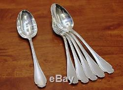 SET OF 6 Alfenide POMPADOUR (prod. Christofle) Silver Table Dinner Place Spoons