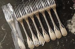 SET OF 8 FRENCH CHRISTOFLE DESSERT SALADE Forks VERSAILLES SILVER PLATE One NEW