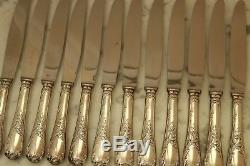 SET of 12 Christofle MARLY Silver-plate DINNER knives FRANCE