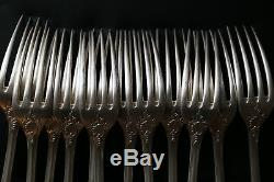 SET of 12 Christofle MARLY Silver-plate Table Dinner Forks 8 3/8 FRANCE