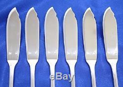 SET of 6 Christofle MALMAISON Silver-plate Fish Knives 7 3/4 FRANCE