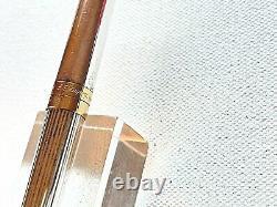 S. T. DuPont Fountain Pen Silver Plate Godron Medium 18 CT. Gold nib GORGEOUS