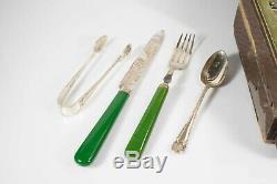 Set 19 Pcs James Deakin & Sons Silver Fruit Service WithBakelite handle