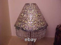 Set 4 Gorham Candle Shades 1890's With Liners And Glass Bead Fringe