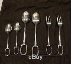 Set Of 4 Hermes Attelage Silver Plated Flatware Five Peice Settings No. 1