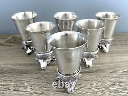 Set Of 6 Silver Plate Fox Head Stirrup Cups
