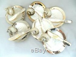 Set of 6 Mother of Pearl & Silver Plate Individual Caviar Dishes with Knives