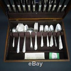 Set of 79 Wm Rogers Sectional IS, Silver Plate Flatware Regent 1939 with Wood Box