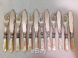 Sheffield EPNS A1 Mother of Pearl Dessert Set Knife Fork 12 Piece Set Cased