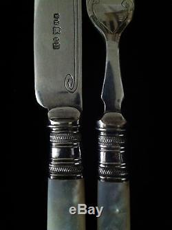 Sheffield Silverplate Cased Set for 6 Fruit/Dessert Forks & Knives MOP Handles