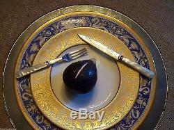 Sheffield Uk Mother Of Pearl Silver 12 Pc Cased Fruit Fork & Knife Set Service