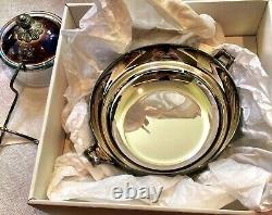 Signed Christofle Silver Plate Caviar Set with Glass Bowl