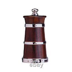Silver Churn Shape Wood Pepper & Ivorine Salt Grinder / MILL Set (new)