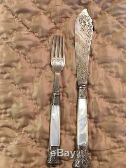 Silver Plate Fish Service Set with Mother of Pearl Handles Cutlery