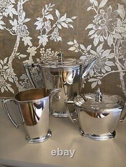 Silver Plated Art Deco Coffee Set Coffee Pot, Sugar and Milk