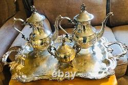 Stunning Large English Silver MFG Corp serving tray platter handles and tea set