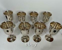 Stunning set of 8 Wm William A Rogers 8 oz Silver Wine Goblets 6.5