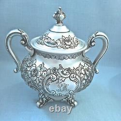 VINTAGE REED & BARTON Regent HAND-CHASED 5 pc. SILVER PLATE TEA SET 1940 5600C