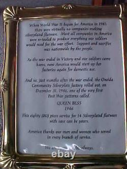 VNTG ONEIDA COMMUNITY Queen Bess SILVERWARE SET WITH WOOD BOX 80 PCS QUEEN BESS