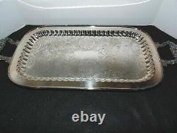 VTG. Silver On Copper Tea or Coffee Set Pot Creamer Sugar Tray
