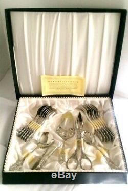 VTge Solingen Germany 18/10 Silver Dessert Hostess 17pc. Set Hildeschimer Rose
