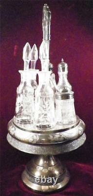 Victorian Silver Plate Castor Set 6 Glass Cruets Jars Spoon Antique Rogers Bros