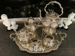 Victorian Silverplated Coffee And Tea Set With Tray