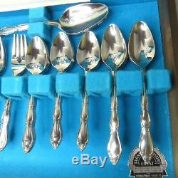 Vintage 50pc International Silver Stainless Steel Flatware Set for 8 with Case