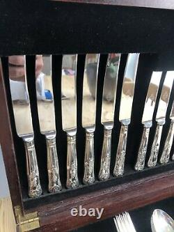 Vintage 60pcs Kings Pattern Cutlery Set EPNS A1 Silver Plated Sheffield England
