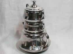 Vintage Crescent Silver Plate STACKING TEAPOT Set with Creamer & Sugar Bowl