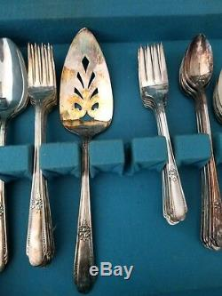 Vintage Deco 1930-40s WM ROGERS Silverplate Flatware Set X 61 Service For 8