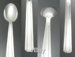 Vintage French Art Deco Silver Plate Flatware Set, 90 Grams Heavy Silver Plating