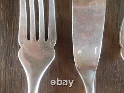 Vintage French Christofle Fidelio Fish Flatware Set 12 pcs Silverplate