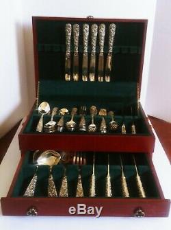 Vintage Godinger Olde Bouquet Flatware Serving Silver Plate 64 Pieces Set