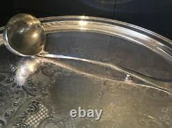 Vintage KENT SILVERSMITHS Silver Plated PUNCH BOWL SET 28 Cups, Ladle & Platter