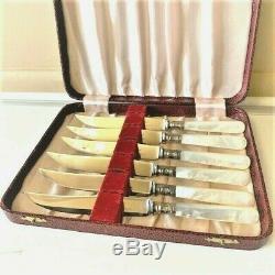 Vintage Knife set Sheffield England MOTHER OF PEARL and Sterling Sliver Handle