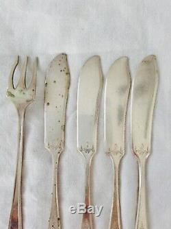 Vintage Oneida Community Silver Knives Fork Set Lot Of 5 Antique Rare Old