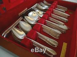 Vintage Oneida Community Silver Plate Stainless 80 pc Flatware Set Wood Case
