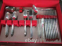 Vintage Oneida Ltd. 1881 Rogers Lilac Time 70 Piece Silverware Set Service for 8