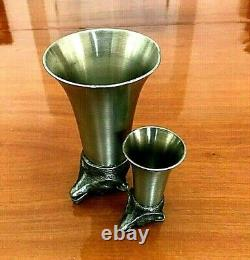 Vintage Pewter Set Of 5 Animal Figural Heads Wine/whisky Parting Stirrup Cups