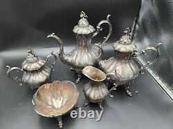 Vintage Reed & Barton Winthrop Silverplate Tea & Coffee Set pumpkin finials