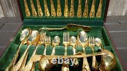 Vintage SBS Bestecke Solingen 23 24 Carat Gold Plated Cutlery Full Dining Set